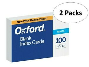 Oxford 40 4 X 6 Blank Index Cards White 100 pack 2 Pack