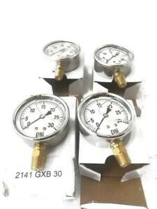 Lot Of 4 Qty Valley Instrument Hydraulic Pressure Gauge 1000 Psi Glycerin Filled