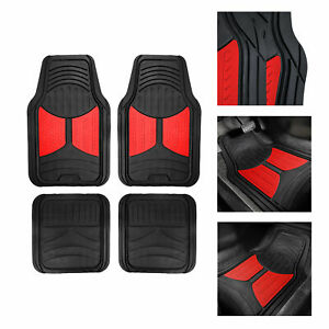 Black Red 2 Tone Floor Mats For Car Suv Van All Weather Universal Fitment