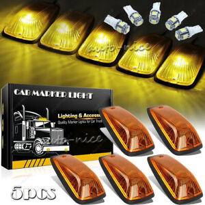 Amber Lens Roof Cab Marker Light W T10 Led Assembly For Chevy Gmc Trucks 88 00