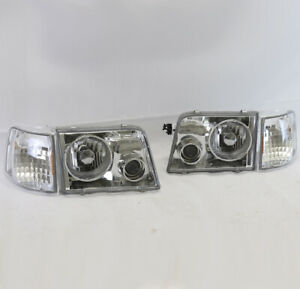 93 97 Ford Ranger Pickup Chrome Head Lights projector Fog Lamps W corner Signal
