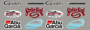 Fishing Logo Set 12 Pack 6 Vinyl Vehicle Boat Tackle Gear Decal Stickers