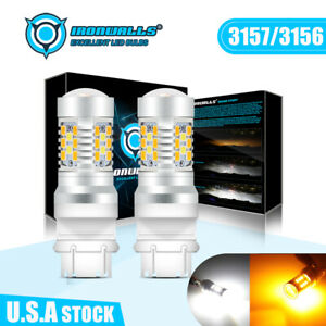 2x Led Turn Signal Lights Bulbs White Amber Switchback 3157 3156 3057 4057 4157