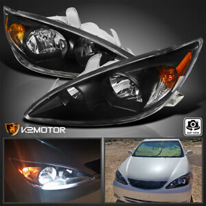For 2002 2004 Toyota Camry Headlights Head Lamps Lights Diamond Black Left right
