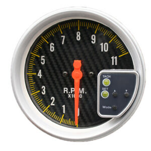 Universal 5inch Carbon Style Face Tachometer Tach Gauge With Shift Light 11k Rpm