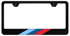 M Stripe Black License Plate Frame For Euro Bmw 304 Stainless Steel