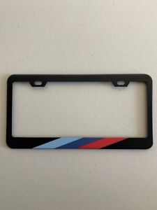Two Pack M Stripe Black License Plate Frame For Bmw 304 Stainless Steel