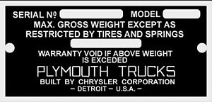 Early Plymouth Truck Pickup Data Plate 1937 Pt 50 1935 41 Vin Id Identification