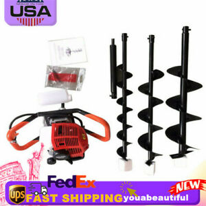 52cc Powered Engine Gas Post Fence Hole Digger Earth Auger W 4 6 8 auger Bits
