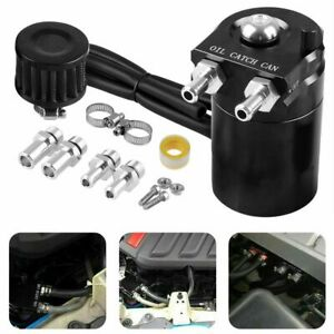 Oil Catch Can Tank Reservoir Breather With Filter Kit Cylinder Aluminum Engine