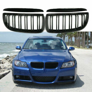 For 05 08 Bmw 3 Series E90 E91 Gloss Black Front Kidney Dual Slat Grill Grille