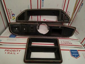 1987 1991 Ford F 150 F 250 F 350 Bronco Wood Grain Dash Gauge Radio Bezel Set Oe