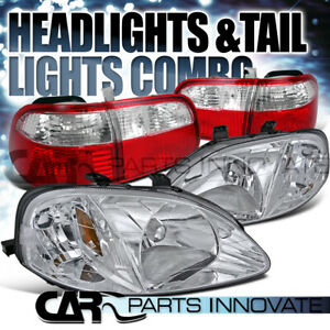 Fit 99 00 Civic 4dr Sedan Crystal Chrome Headlights red Clear Rear Tail Lamps