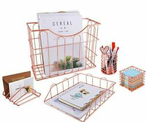 Office Supplies Rose Gold 5 In 1 Desk Organizer Set Hanging File Org