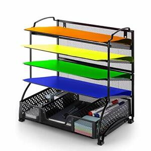 Office Supplies 5 trays Mesh Desk File Organizer Vertical Document Letter Tray