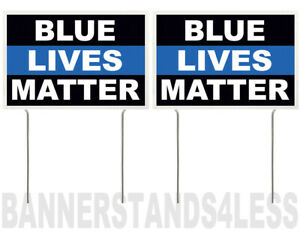 8x12 Inch Blue Lives Matter Yard Sign With Stake Kb 2 Pack
