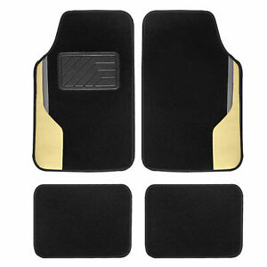 Color Block Carpet Non Slip Car Floor Mats With Faux Leather Accents Full Set