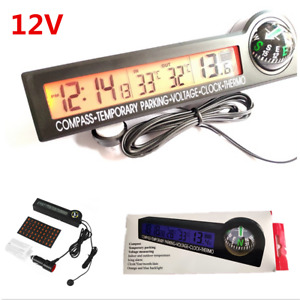 Car Digital Compass Clock Thermometer Voltage Meter Voltmeter Temporary Parking