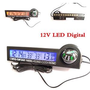 Led Digital Panel Display Compass Clock Thermometer Voltmeter Temporary Parking
