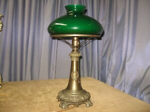 Antique Table Lamp Emeralite Style Table Original Green Case Glass Shade 1907