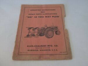 Allis Chalmers Wd 54 Two Way Plow Operating Instructions Parts Illustrations