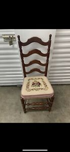 Antique Shaker Style Ladder Back Chairs With Hand Woven Seat Cushion Very Old