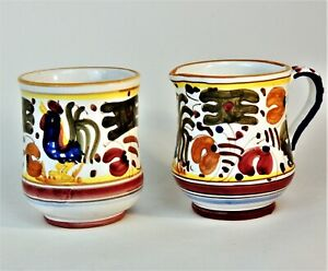 DERUTA? Pottery Handmade Hand Painted Rooster Cream amp; Sugar Set Made in Italy
