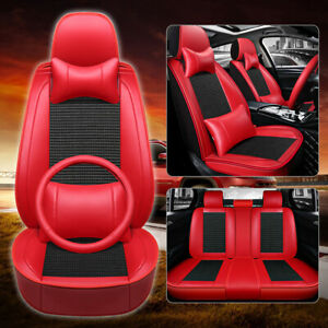 Red black Us Car Seat Covers Luxury Leather Protector Cushion Set Universal Fit