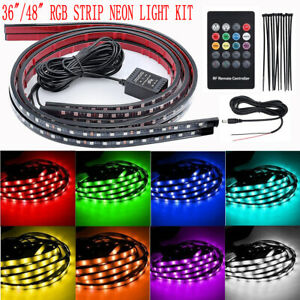 36 48 Rgb Led Strip Under Car Tube Underglow Underbody System Neon Light Kit Ea