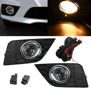 2pcs Clear Lens Fog Light Lamp Wiring Switch W bulbs For 17 19 Nissan Sentra