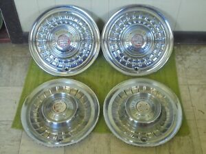 58 59 Cadillac Hub Caps 15 Set Of 4 Caddy Wheel Covers Hubcaps 1958 1959