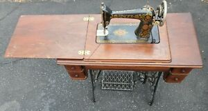 Vintage Singer Treadle Sewing Machine Table Complete Works With Spare Parts
