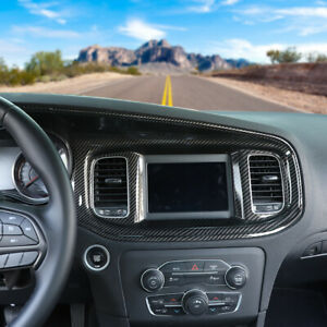 Carbon Fiber Central Control Dashboard Panel Cover Trim For Dodge Charger 2015