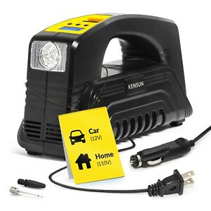 Car Tire Inflator With Gauge Small Air Compressor Portable Air Pump Digital Acdc