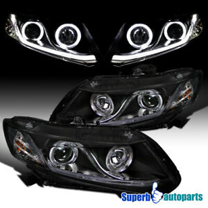 For 2012 2014 Civic 2 4dr Halo Projector Headlight W led Light Bar Black