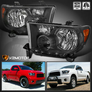 For 2007 2013 Toyota Tundra 08 17 Sequoia Black Headlights Lamps Left Right Pair