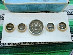 Nos Moon Eyes Classic Instruments Gauges 5 Gauge Set Mph Oil Gas Volts Temp