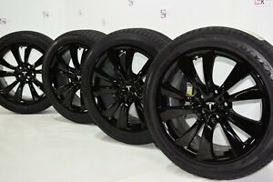 19 Tesla Model S Black Wheels Rims Tires Original Factory Oem Cyclone 19 Inch