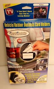 Set Of 2 Yellow Car Card Caddie Outdoor Indoor Business Card Holder New