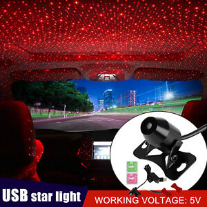 Usb Car Atmosphere Lamp Interior Ambient Star Light Led Projector Starry Sky Red