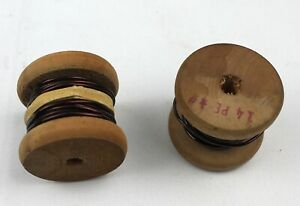 14 Gauge Solid Enameled Copper Wire On Two Hardwood Spools Nos