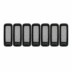 Fits Jeep Patriot 2011 2017 Black Front Mesh Grille Cover Insert Grill Trim 7pcs