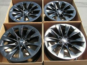 20 Tesla Model X Satin Semi Black Wheels Rims Original Parts Oem 4 Alloys