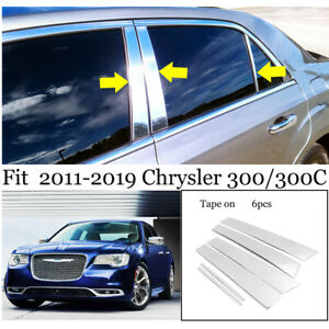 For 2011 2019 Chrysler 300 300c 6pcs Stainless Steel Chrome Pillar Post Trim