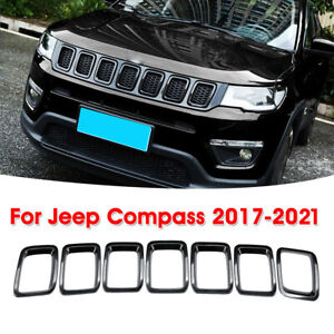 Fit For New Jeep Compass 2017 2021 Black Front Grille Inserts Grill Trim Cover