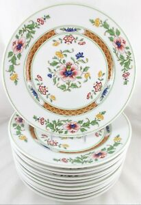 Excell Set S 6 Dinner Plates Vintage Heinrich China Parnass Blue Rust Flowers
