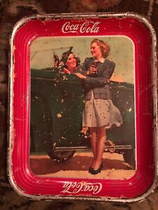 1942 Coca-Cola Tray Original Two Girls At A Car American Art Works