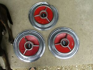 3 Vintage 1959 59 60 Ford Edsel Hubcaps Wheel Covers Center Caps Antique Fomoco