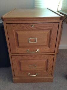 2 Drawer File Cabinet Solid Red Oak Locking 24 D X 18 5 W X 30 H