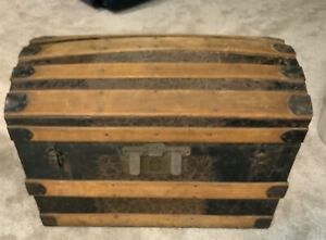 Antique Barrel Top Camel Back Cross Slat Wood And Metal Trunk Chest